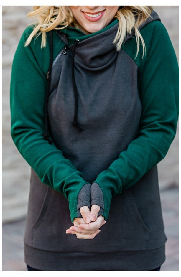 Charcoal and Dark Green Double Hoodie (Ready to Ship) (4768149110873)