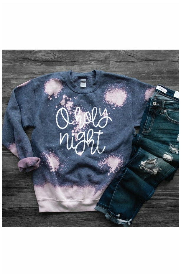 O Holy Night Bleached Fleece Crewneck Pullover (Ready to Ship) (4757354578009)