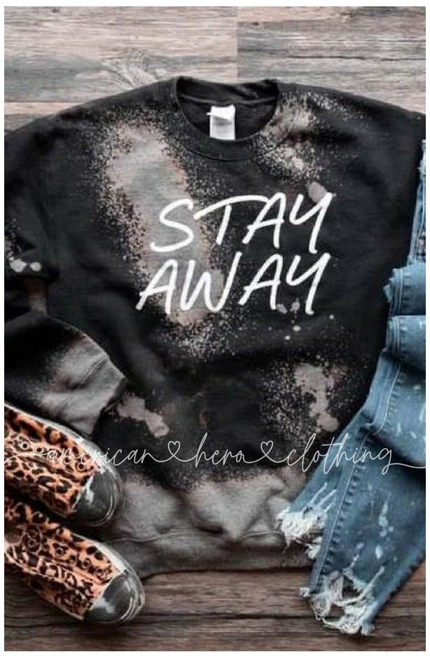 Stay Away Bleached Fleece Crewneck Pullover