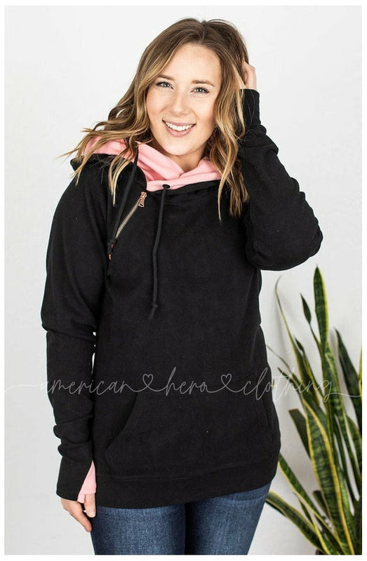 IN STOCK Black and Blush Double Hoodie