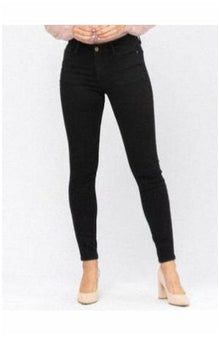 Judy Blue Mid Rise Non-Distressed Black Skinny Jean (4725164048473)