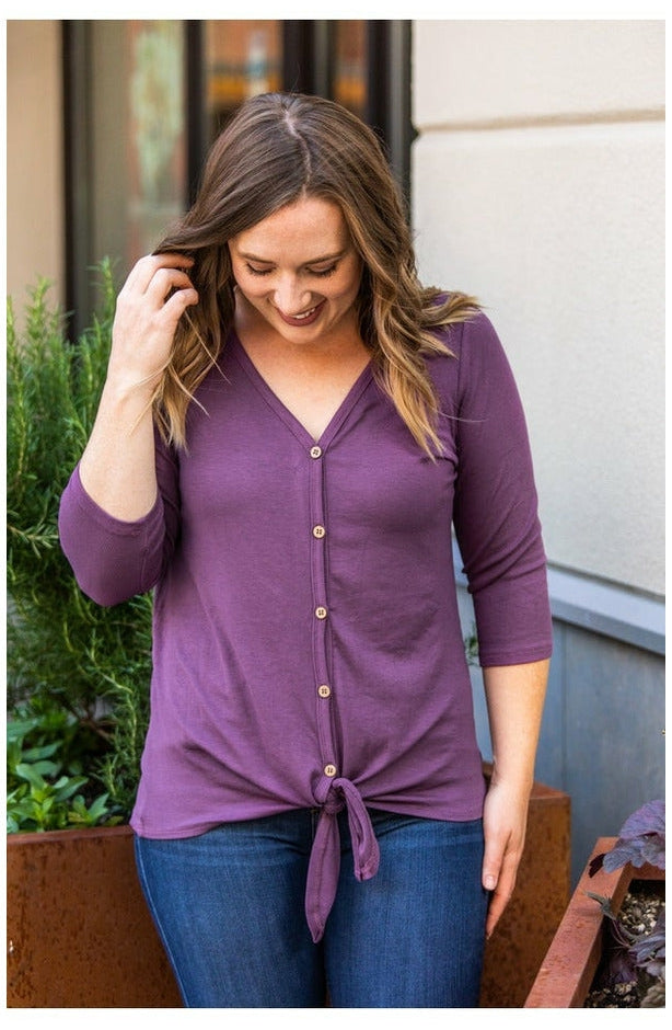 Henley Button Tie Top - Plum (Ready to Ship) (4719599976537)