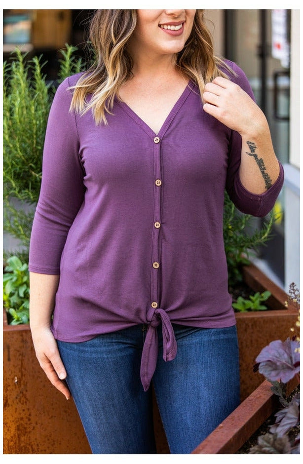 Henley Button Tie Top - Plum (Ready to Ship)