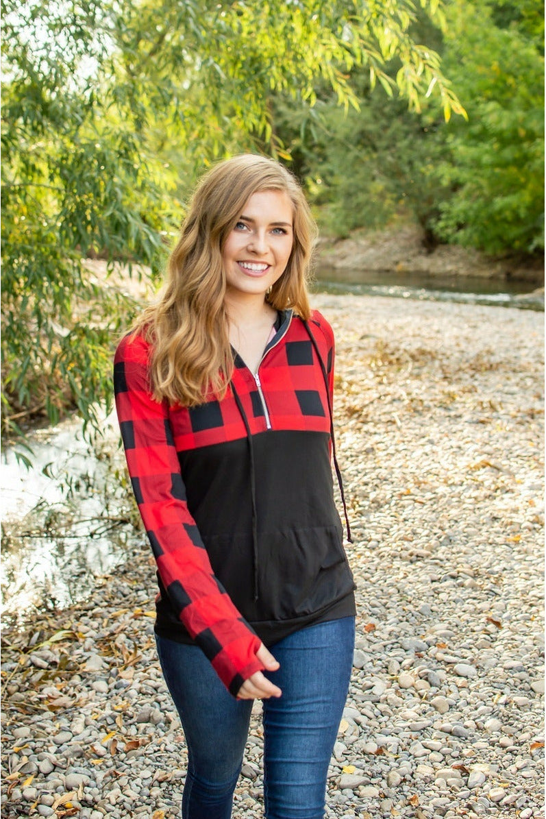 Buffalo Half Zip | Black and Red (Ready to Ship) (4726530474073)