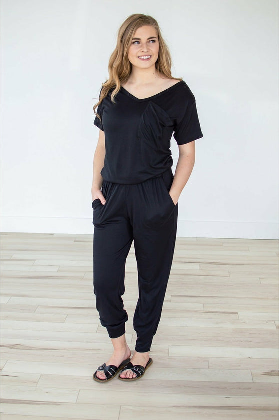 Black V-neck Jumper (4724290355289)