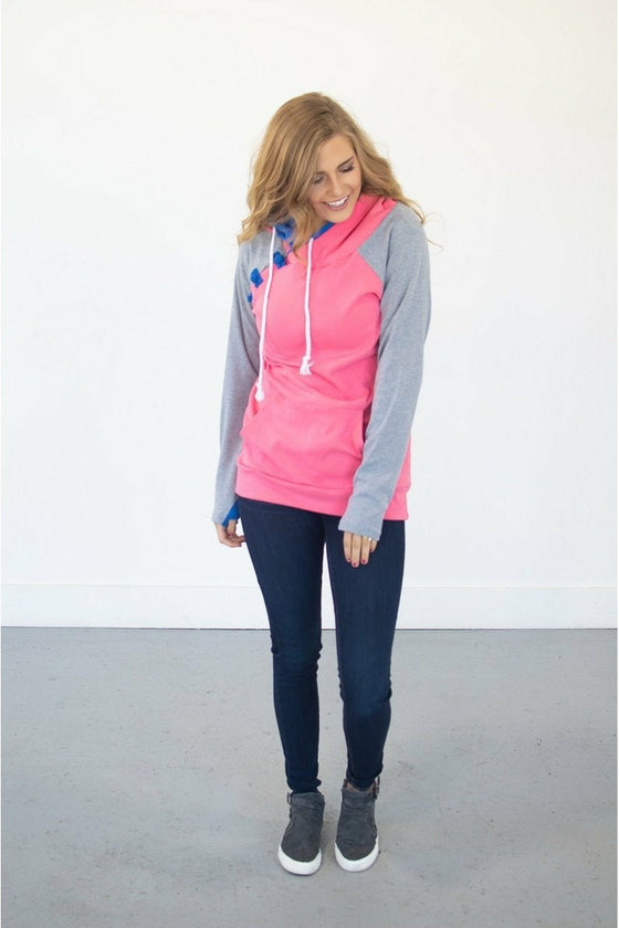 Passion Pink Color Block Hoodie (4724279640153)