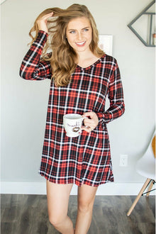 Lounge Dress | Back and Red Plaid