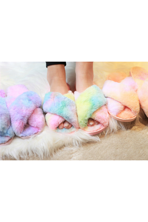 Ultra Fuzzy Tie Dye House Shoes (Ready to Ship)