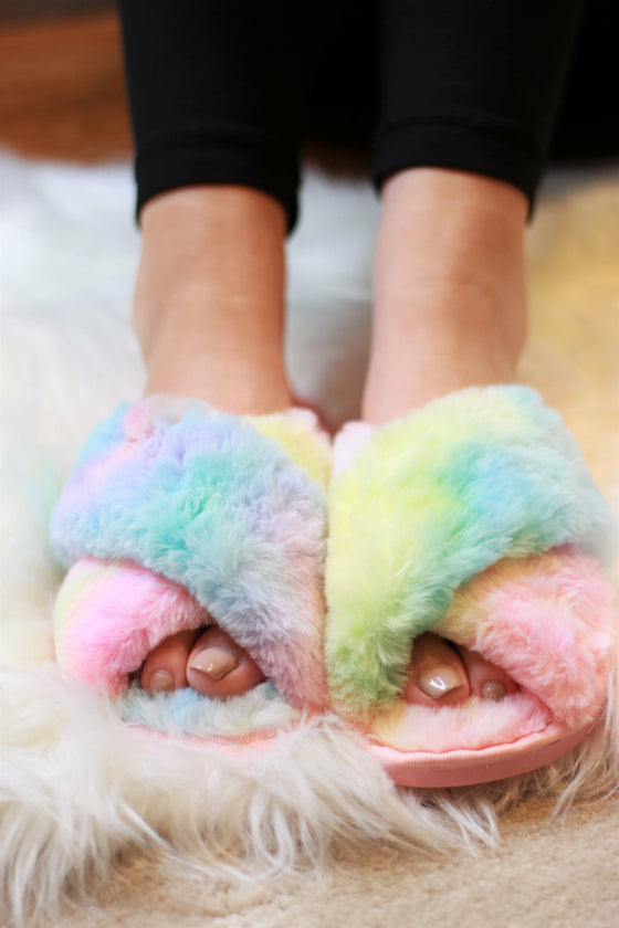 Ultra Fuzzy Tie Dye House Shoes (Ready to Ship) (4726508355673)