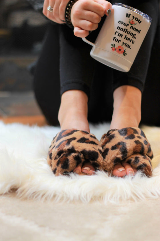 Ultra Fuzzy Animal Print House Shoes (Ready to Ship) (4726510714969)