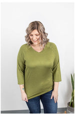 IN STOCK Kennedy Silver Stripe Top - Chartreuse