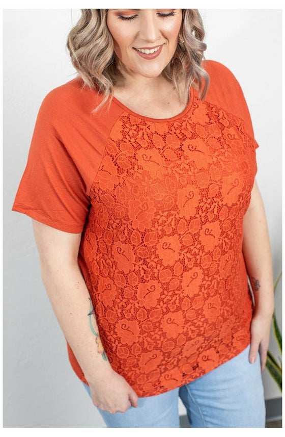 Juliet Lace Front Tee - Pumpkin (Ready to Ship) (4762182090841)