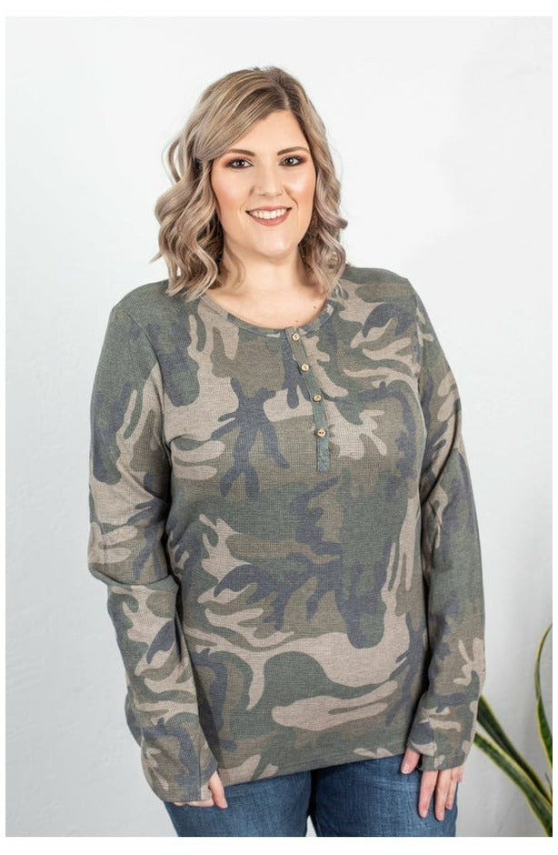 IN STOCK Harper Long Sleeve Henley - Army Green Camo
