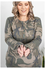 Harper Long Sleeve Henley - Army Green Camo (Ready to Ship) (4768159301721)
