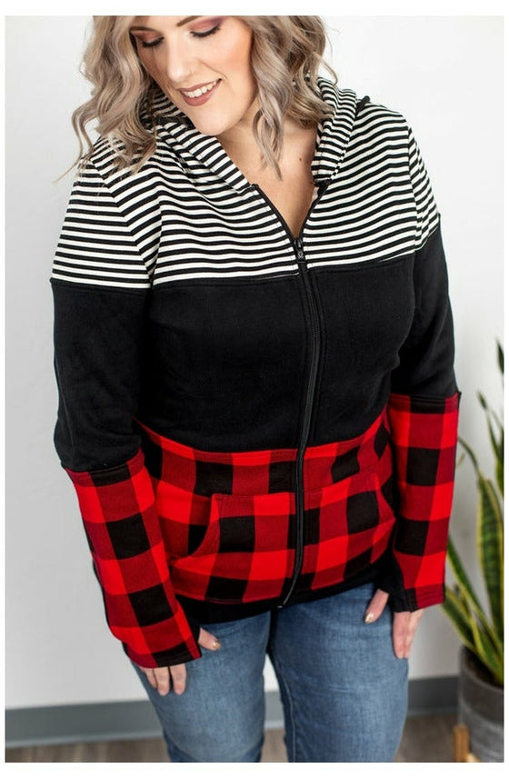 Buffalo Plaid and Stripes Full Zip Hoodie (Ready to Ship) (4765348724825)