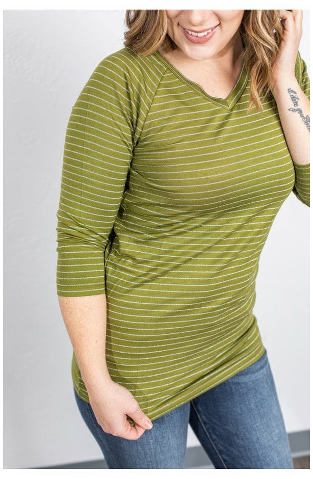 Kennedy Silver Stripe Top - Chartreuse (Ready to Ship) (4762185072729)