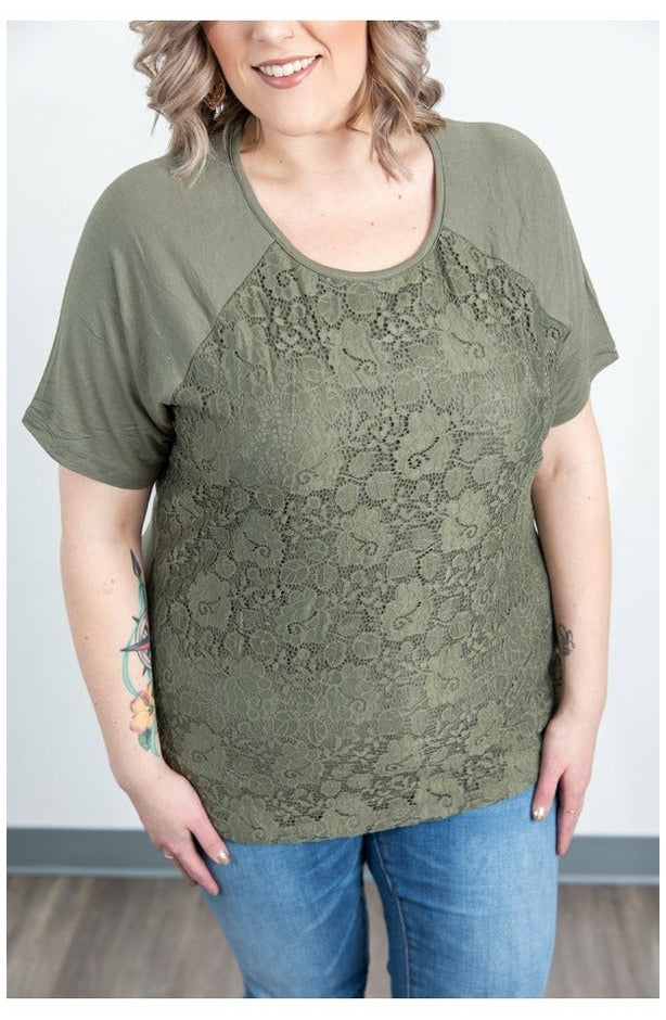 Juliet Lace Front Tee - Olive