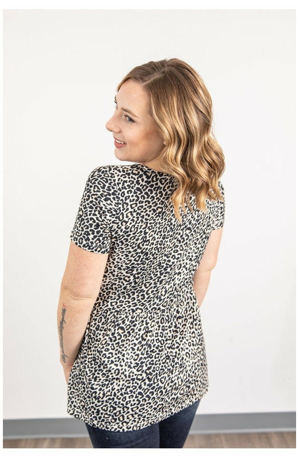 IN STOCK Sarah Ruffle Top - Leopard
