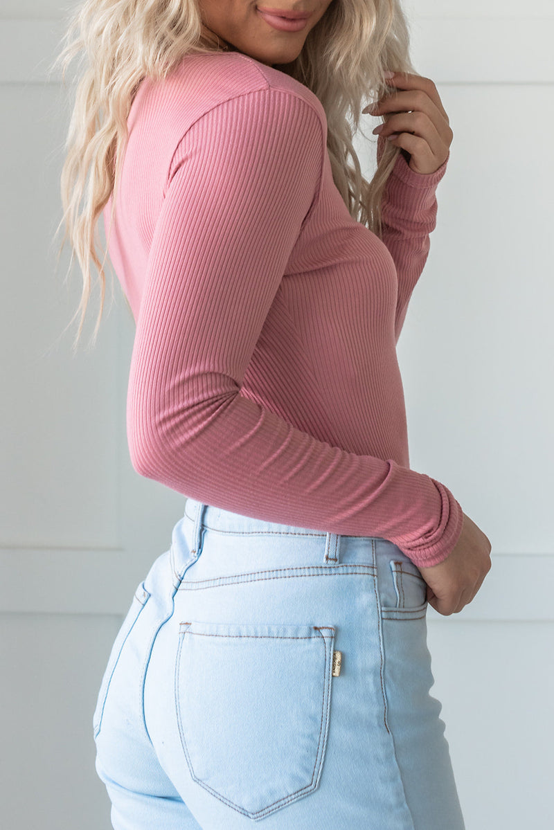 Get The Look Ribbed Bodysuit- Pink