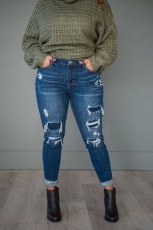 New Obsession Patched Judy Blue Skinny Jeans (Ready to Ship) (4764126249049)