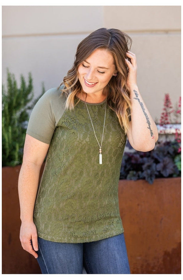 Juliet Lace Front Tee - Olive (4762329514073)