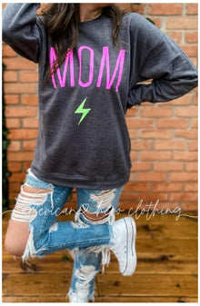 Mom Rocks Carma crew fleece sweatshirt