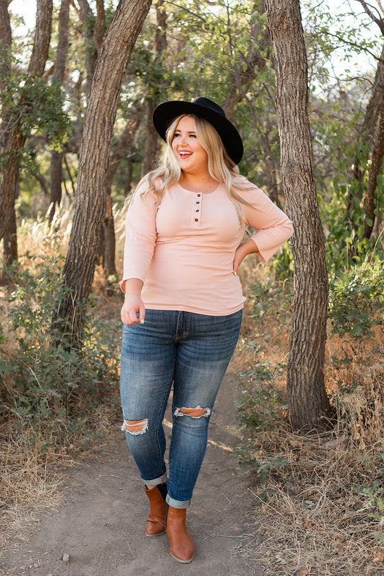 It's A Must Henley Top - Pink (4738452750425)
