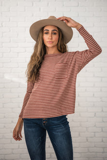 Keep it Casual Ribbed Striped Top- Rust and Ivory (Ready to Ship) (4764131950681)