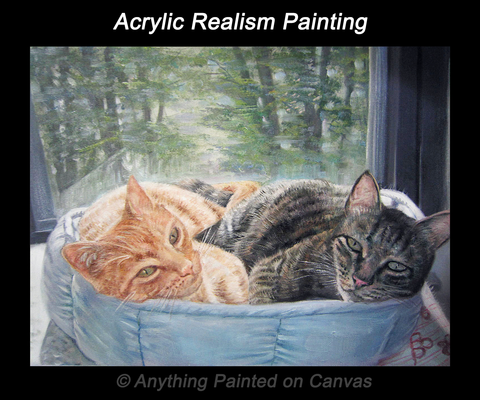 Realistic acrylic painting of two cats in a blue cat bed