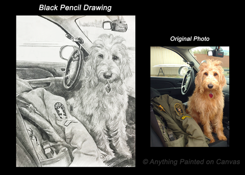 Pencil drawing of a dog in a car from photo