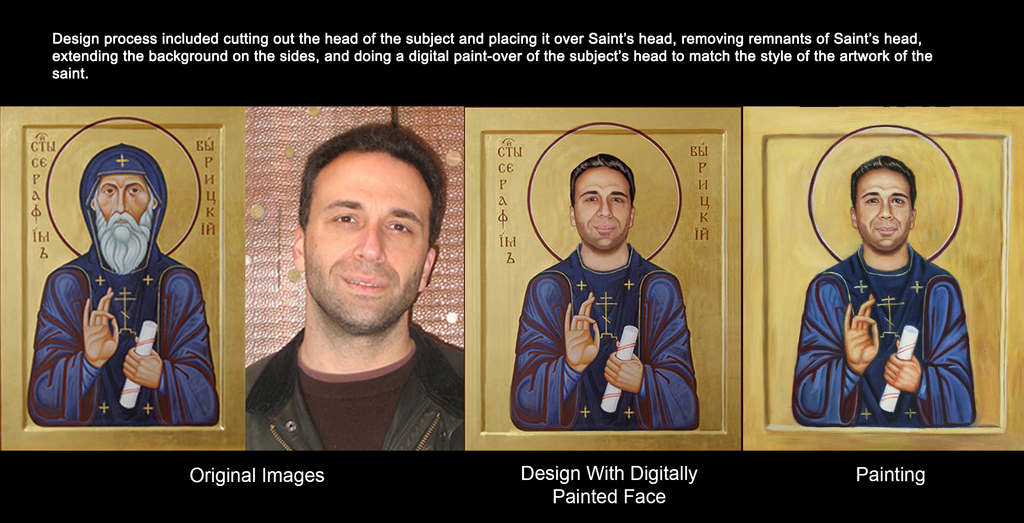 Description of digital alteration process of a photograph into a painting of a saint