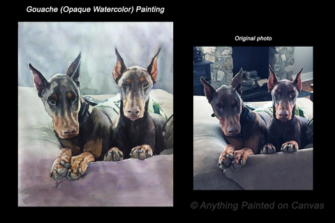 Realistic gouache painting of two dogs