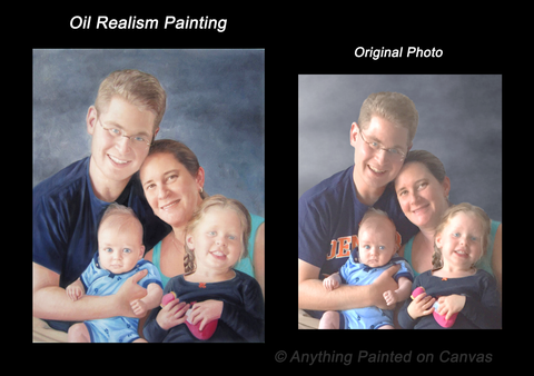 Realistic family portrait oil painting from a photo