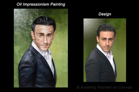 Impressionist oil painting of a man in a suit