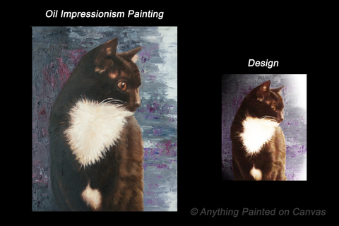 Impressionist painting of a black and white cat