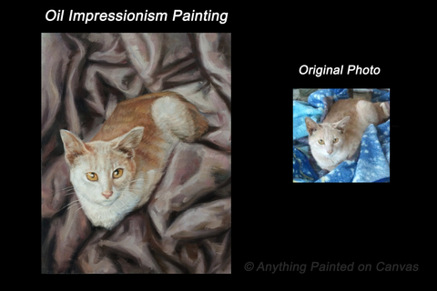 Impressionist oil painting of an orange and white cat on a blanket