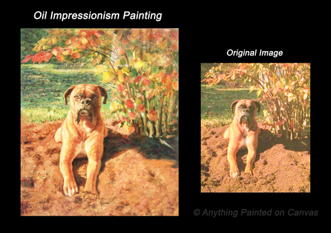 Impressionist oil painting of a dog in a garden