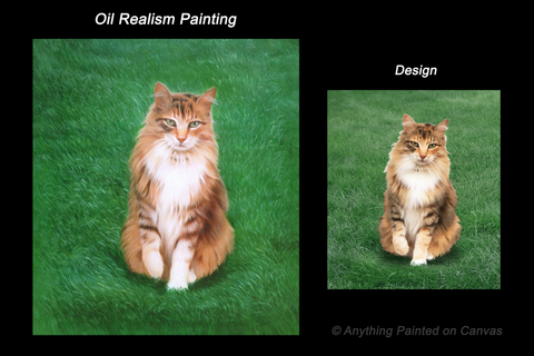 Realistic oil painting of an orange and black cat in grass