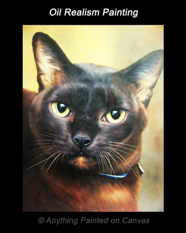 Realistic oil painting of a black cat with a dark collar and a yellow background