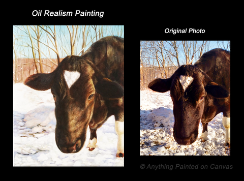 Realistic oil painting of a cow in snow from photo