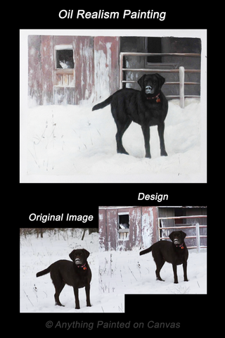 Realistic oil painting of a black dog from photo