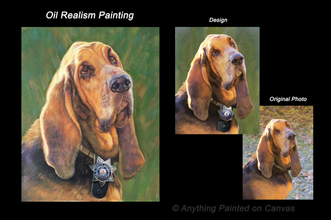 Realistic oil painting of a blood hound