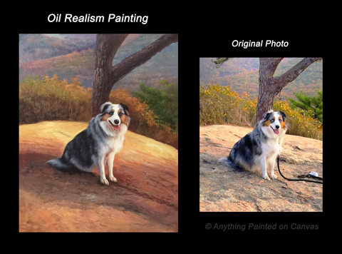 Realistic oil painting of a dog outside