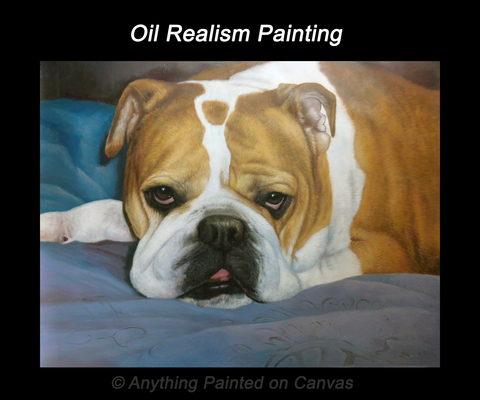 Realistic oil painting of a bulldog