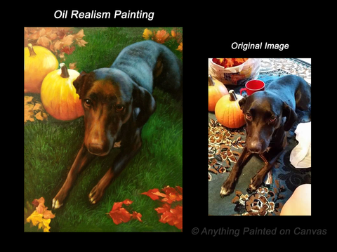 Realistic oil painting of a black dog from photograph