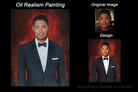 Realistic oil painting of a man in a tux from photo