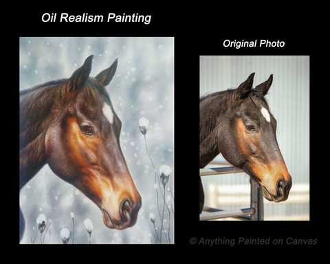 Realistic oil painting of a horse in winter