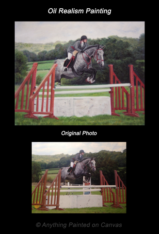Realistic oil painting of a horse jumping from photo