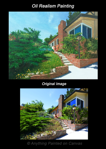 Realistic oil painting of a home from photo