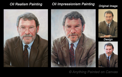 Realistic oil painting of a man in a suit from photo